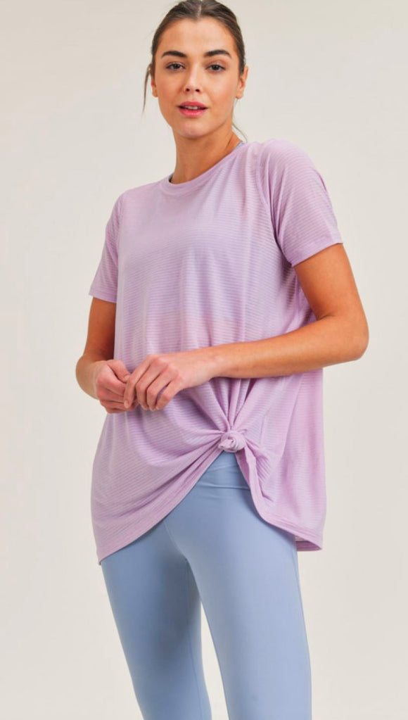 Periwinkle Open Back Top S/S SNAP-Something New And Pretty