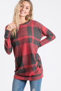 Plaid Side Button Pullovers 7th Ray