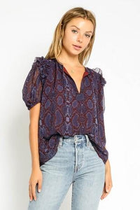 Plum Python Puff Sleeve Top Olivaceous
