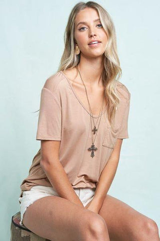 Pocket Tee Shirt La Miel small mocha