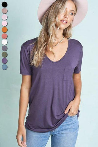 Pocket Tee Shirt La Miel small plum