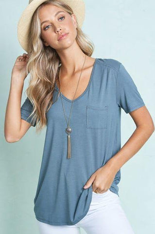 Pocket Tee Shirt La Miel small teal