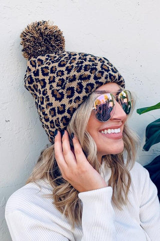 Image of Pom Pom Soft Leopard Beanie hat andthewhy