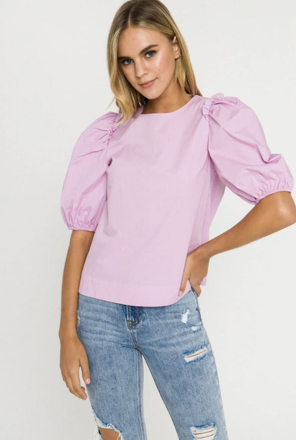 Poplin Puff Sleeve Top Top English Factory XS lavender