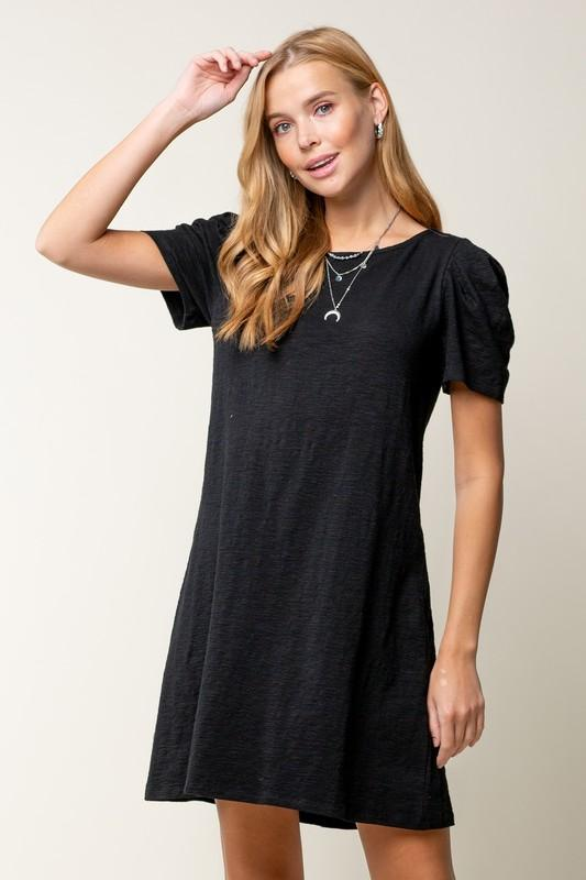 Puff Sleeve T-Shirt Dress Dress doe and rae small black