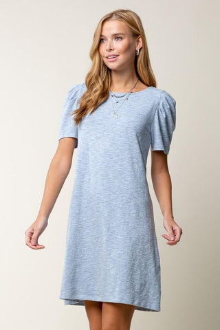 Image of Puff Sleeve T-Shirt Dress Dress doe and rae small light blue