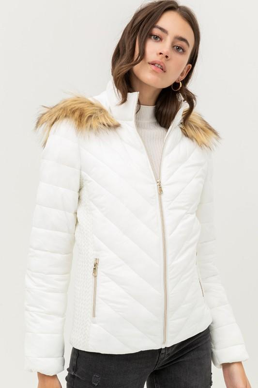 Puffer Coat with Fur Lined Hood coat love tree fashion small ivory