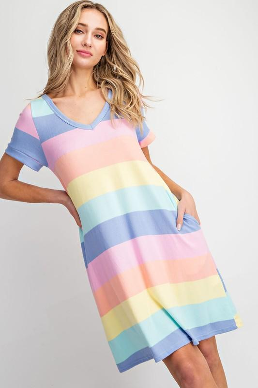 Rainbow Stripe Knit Dress Dress Eesome