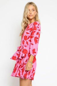Red Floral Tie Waist Dress Dress Olivaceous