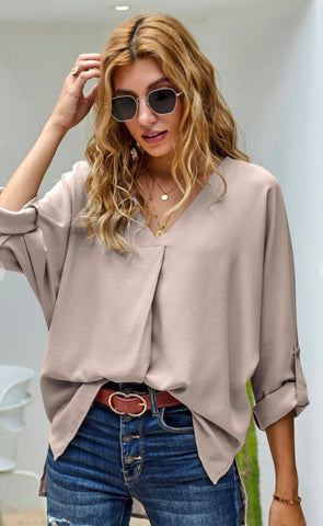 Image of Roll Tab Sleeve Top SNAP-Something New And Pretty
