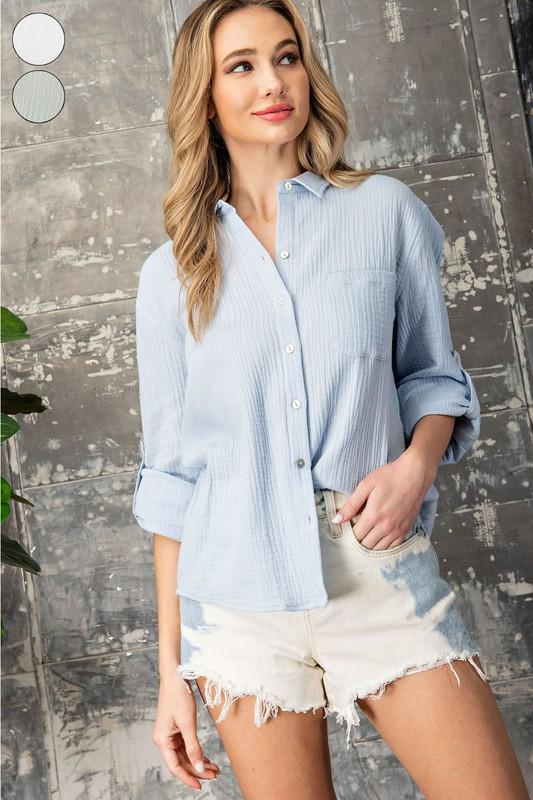 Round II Gauzy Button Down tops Eesome