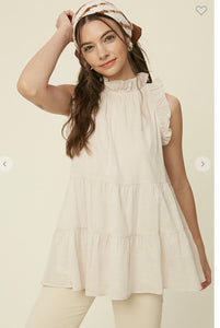 Ruffle Neck Linen Top listicle
