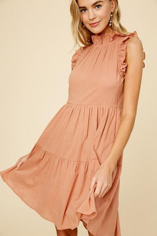 Ruffle Neck Textured Linen Tiered Dress Dress listicle small ginger