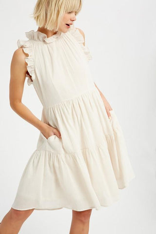 Ruffle Neck Textured Linen Tiered Dress Dress listicle small ivory