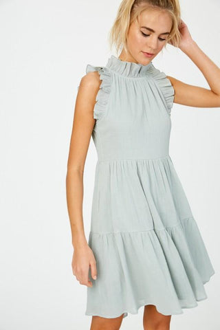 Ruffle Neck Textured Linen Tiered Dress Dress listicle small sage