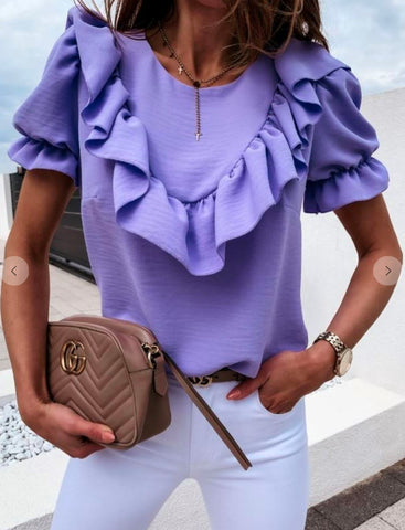 Image of Ruffle Puff Sleeve Top Aly Daly