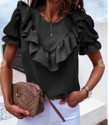 Ruffle Puff Sleeve Top Aly Daly