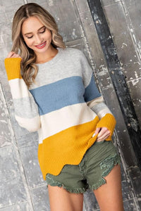 Scalloped Hem Colorblock Sweater SNAP-Something New And Pretty small Berry