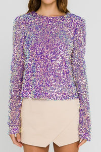 Sequin Shoulder Pad Top Top Endless Rose