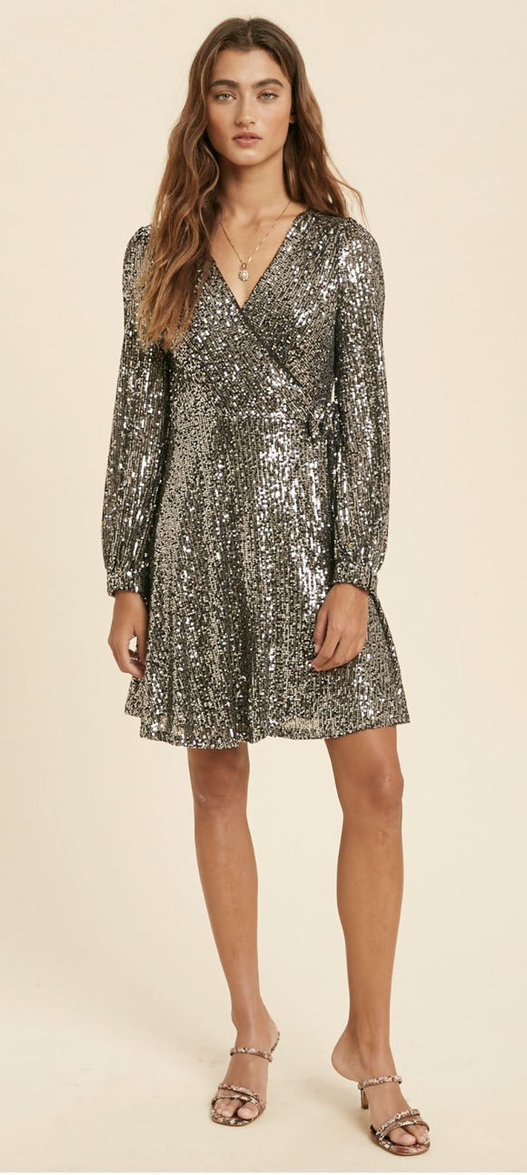Sequin Wrap Dress In Loom