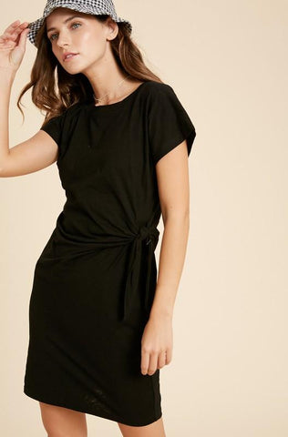 Side Tie Knit Dress Dress Wishlist small black
