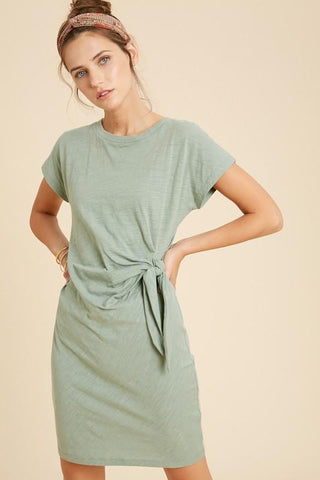 Side Tie Knit Dress Dress Wishlist small sage