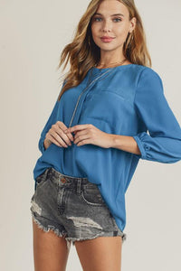 Silky Button Up Top blouse doe and rae small french blue