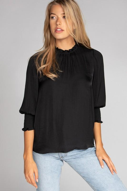 Silky Smocked Sleeve Top Top naked zebra small black