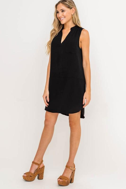 Sleeveless V-neck Dress Dress lush xs black