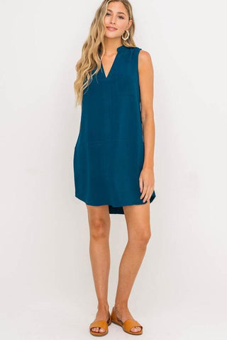 Image of Sleeveless V-neck Dress Dress lush xs peacock blue