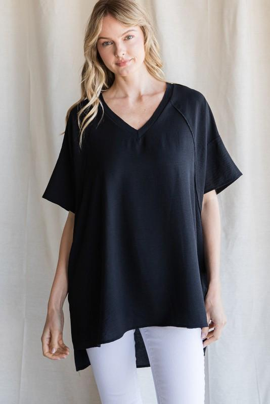 Solid Oversized V Neck Top Upmost