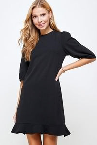 Solid Puff Sleeve Dress SNAP-Something New And Pretty