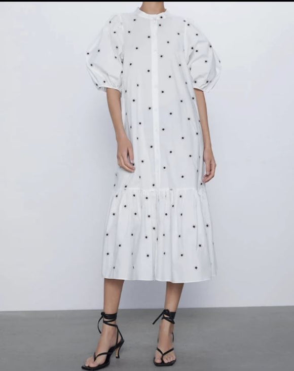 Spotted Poplin Dress Aly Daly