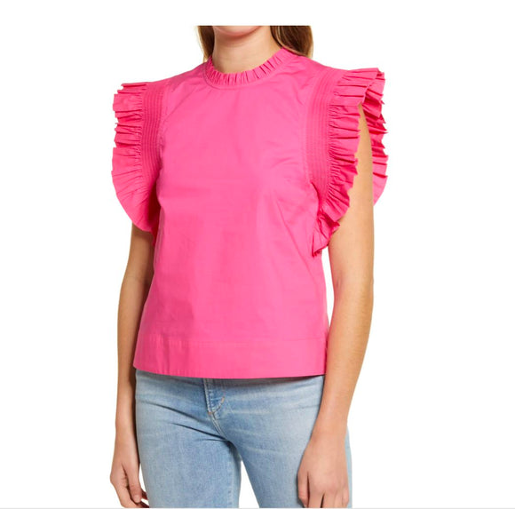 Spring Ruffle Sleeve Poplin Top Top English Factory xs Pink