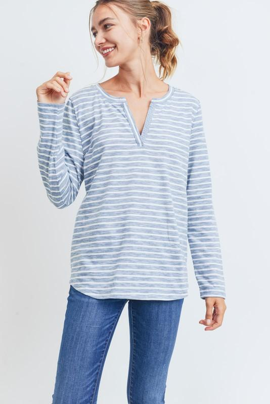 Striped Cotton Tee tee Cotton Bleu by Nu Label small light blue stripe