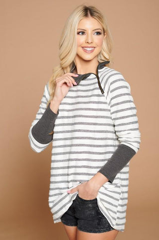 Image of Striped Crossover Hem Pullover pullover doe and rae small charcoal stripe