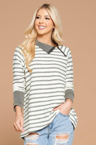 Image of Striped Crossover Hem Pullover pullover doe and rae small green stripe