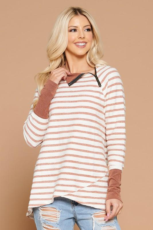 Striped Crossover Hem Pullover pullover doe and rae small spice stripe