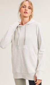Terry Knit Hoodie Pullover with Thumbholes Mono B
