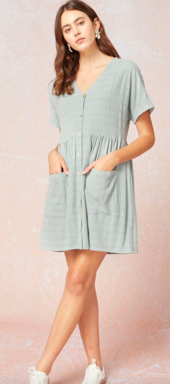 Textured Button Up Dress Entro