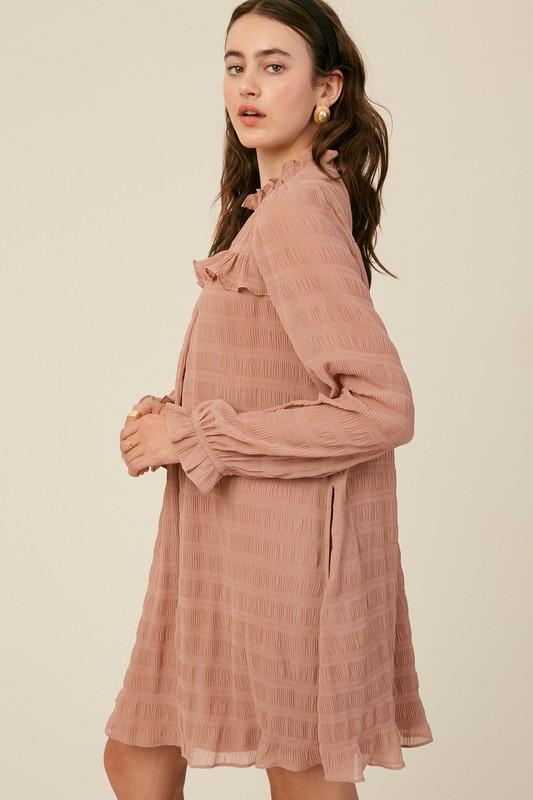Textured Stripe Mock Neck Dress Dress listicle