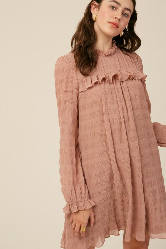 Textured Stripe Mock Neck Dress Dress listicle small dusty blush