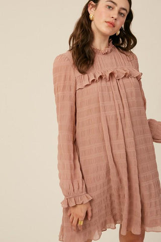 Image of Textured Stripe Mock Neck Dress Dress listicle small dusty blush
