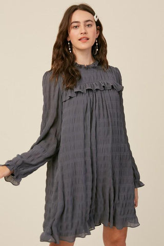 Image of Textured Stripe Mock Neck Dress Dress listicle small midnight navy