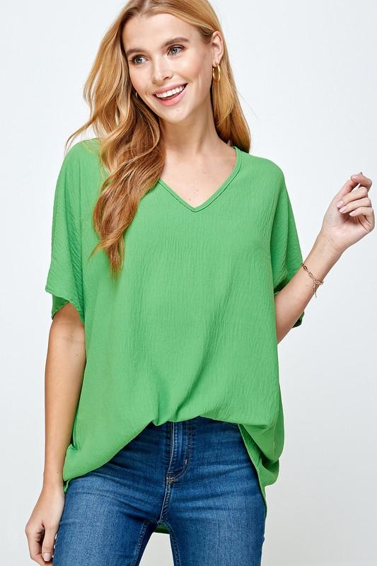 Textured V-Neck Blouse tops 2 hearts