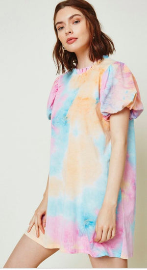 Tie Dye Puff Sleeve Dress Hayden Los Angeles