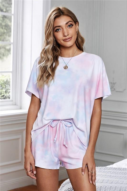 Tie Dye Short Sleeve Lounge Set pajamas Shiying