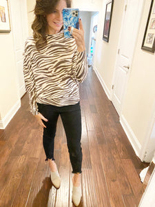 Tiger Stripe Asymmetrical Sweater Olivaceous
