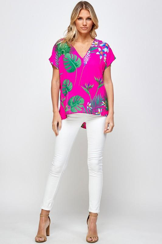 Tropical Floral Top Top caramela