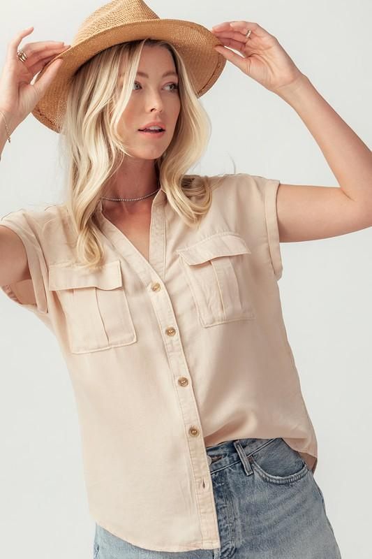 Utility Button Down Shirt Top Trend Notes